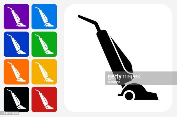 vacuum icon square button set - vacuum cleaner stock illustrations, clip art, cartoons, & icons
