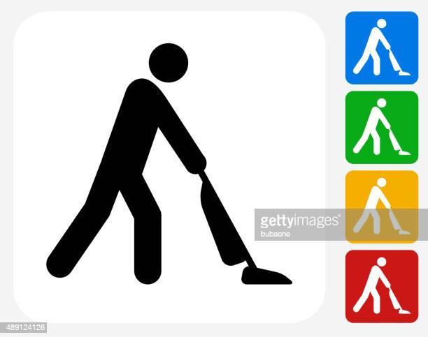 vacuuming icon flat graphic design - vacuum cleaner stock illustrations, clip art, cartoons, & icons