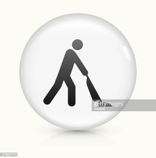 Vacuuming icon on white round vector button