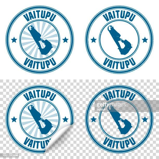 vaitupu - blue sticker and stamp with name and map - tuvalu stock illustrations, clip art, cartoons, & icons