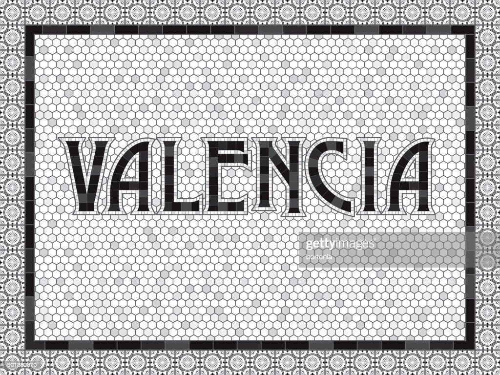 Valencia Old Fashioned Mosaic Tile Typography : stock illustration