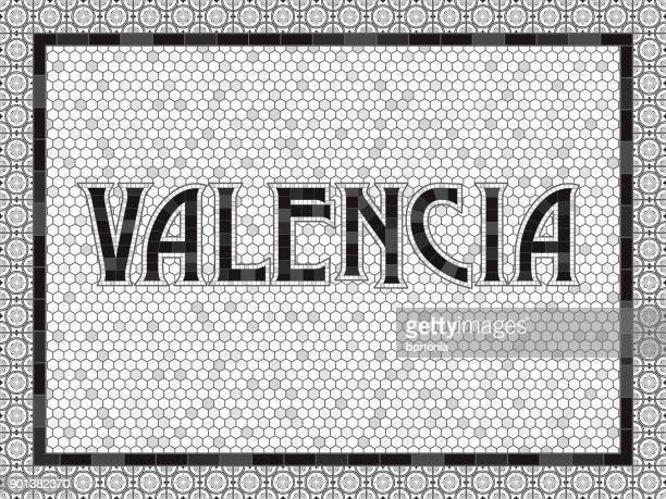 valencia old fashioned mosaic tile typography - comunidad autonoma de valencia stock illustrations