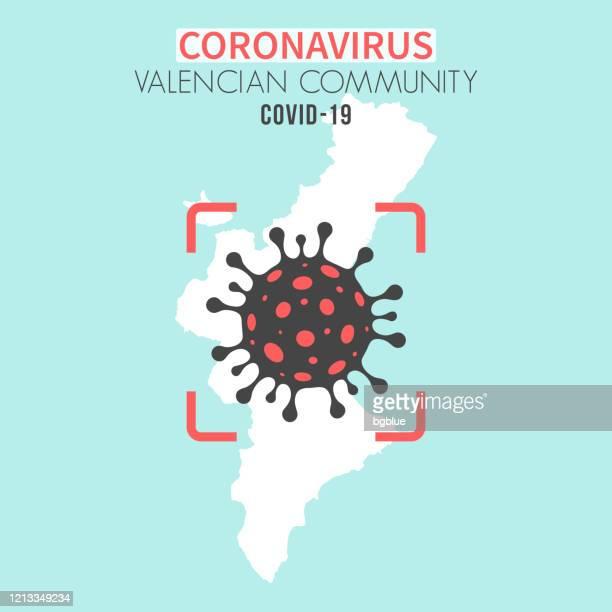 valencian community map with a coronavirus cell (covid-19) in red viewfinder - comunidad autonoma de valencia stock illustrations