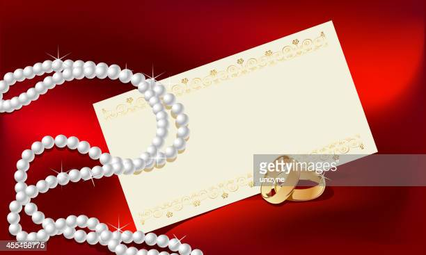 valentine background with card - pearl jewellery stock illustrations
