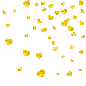 Valentine background with gold glitter hearts. February 14th day. Vector confetti for valentine background template. Grunge hand drawn texture.