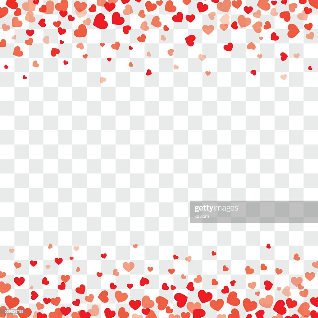 Valentine background with hearts on transparent and space