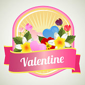 valentine badge with love and flower