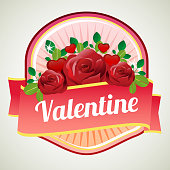 valentine badge with love and red rose