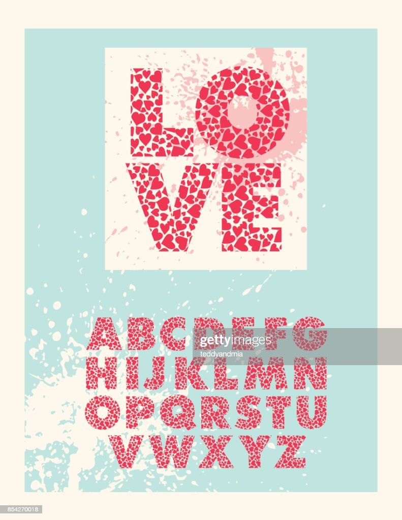 Valentine Block Letter Font Alphabet Made With Red Hearts Vector Art