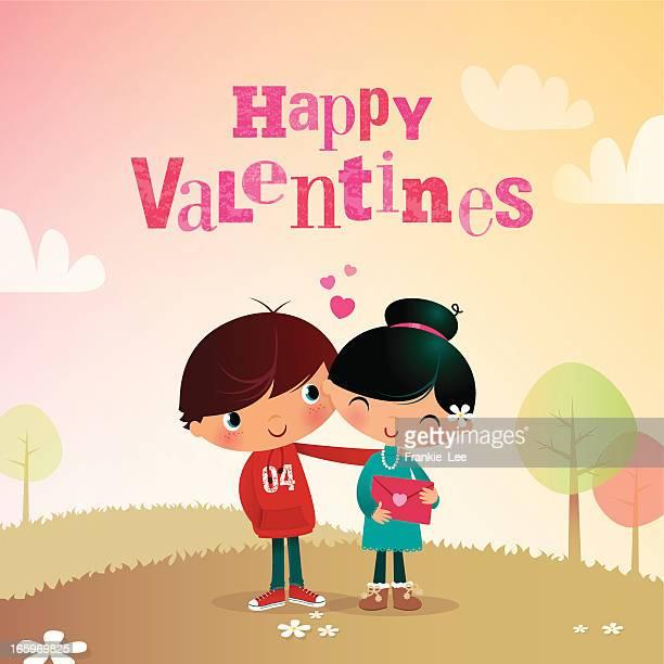 valentine boy & girl - girlfriend stock illustrations, clip art, cartoons, & icons