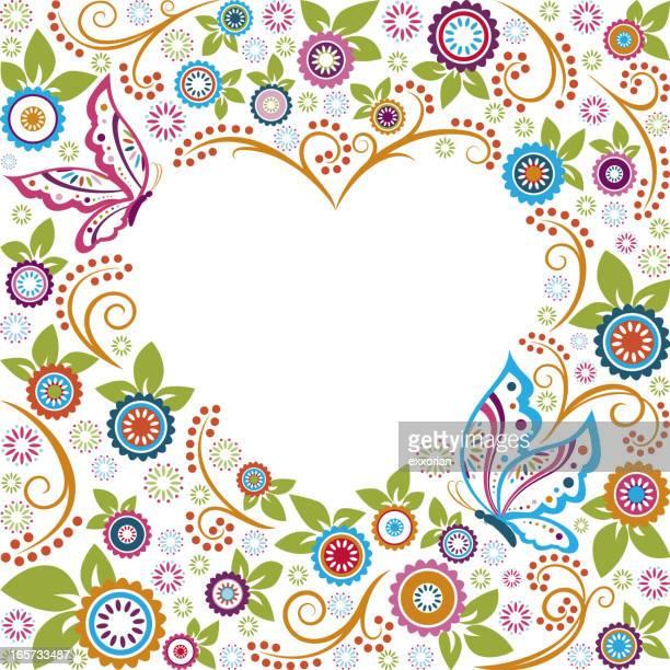 ilustrações, clipart, desenhos animados e ícones de borboleta dia dos namorados coração forma de quadro - lepidóptero