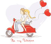 Valentine card - Boy with a girl on a scooter