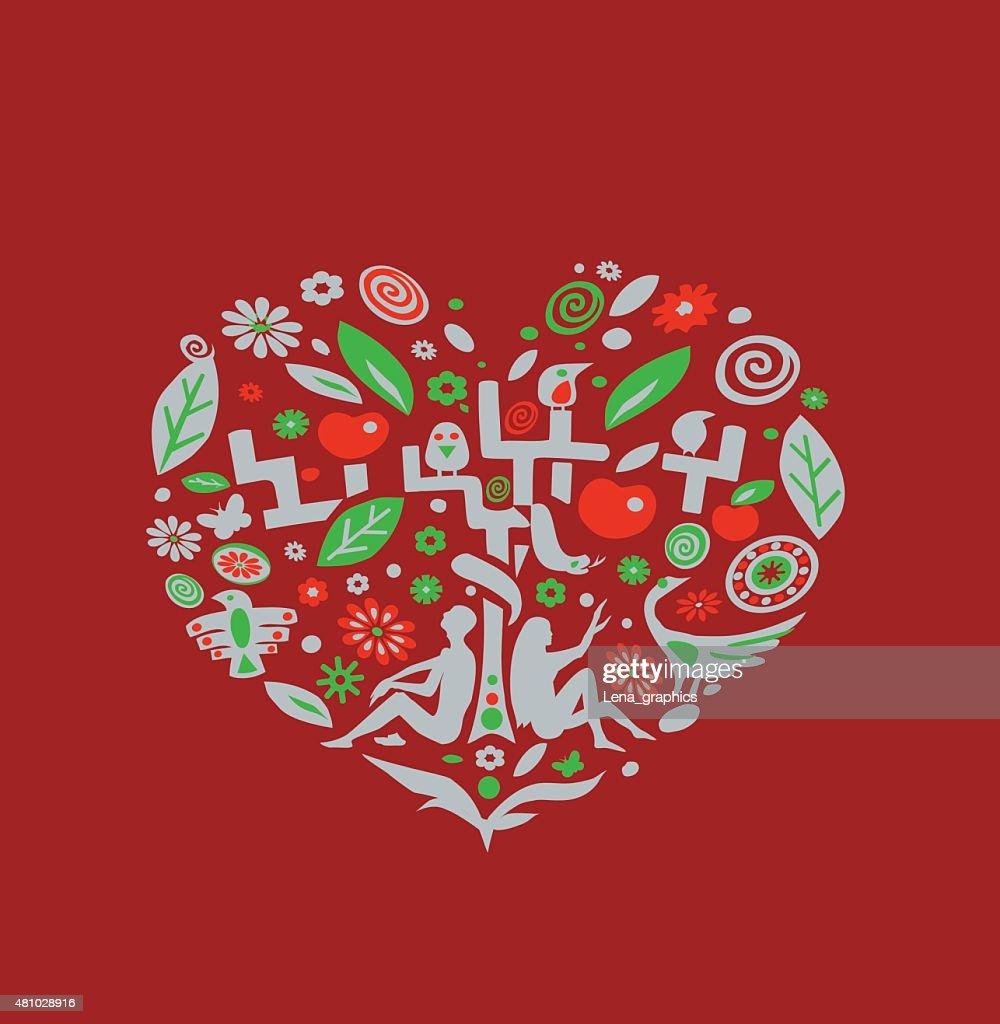 Valentine card. Vector illustration.