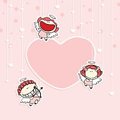 Valentine card with cute cupids
