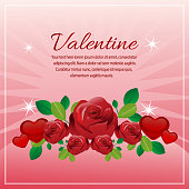 valentine card with love and red rose decoration