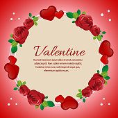 valentine card with love and red rose ornate