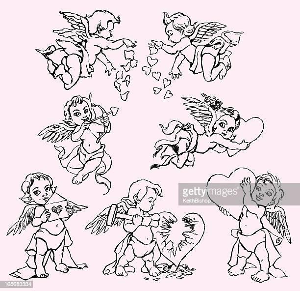 valentine cherubs with hearts - cherub stock illustrations