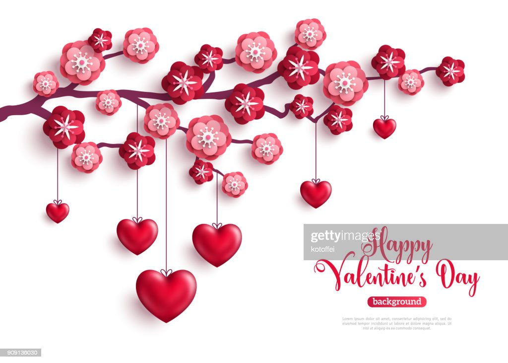 Valentine concept with flowers and hearts
