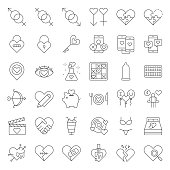 Valentine, Dating, love and romance line icon size 128 px, drawing on grid system