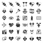 Valentine, Dating, love and romance solid icon size 128 px, drawing on grid system