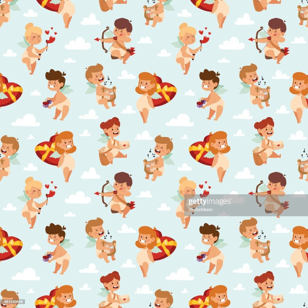 Valentine Day cupid angels cartoon style vector illustration semless pattern