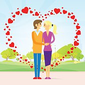 valentine day gift card couple in heart shape