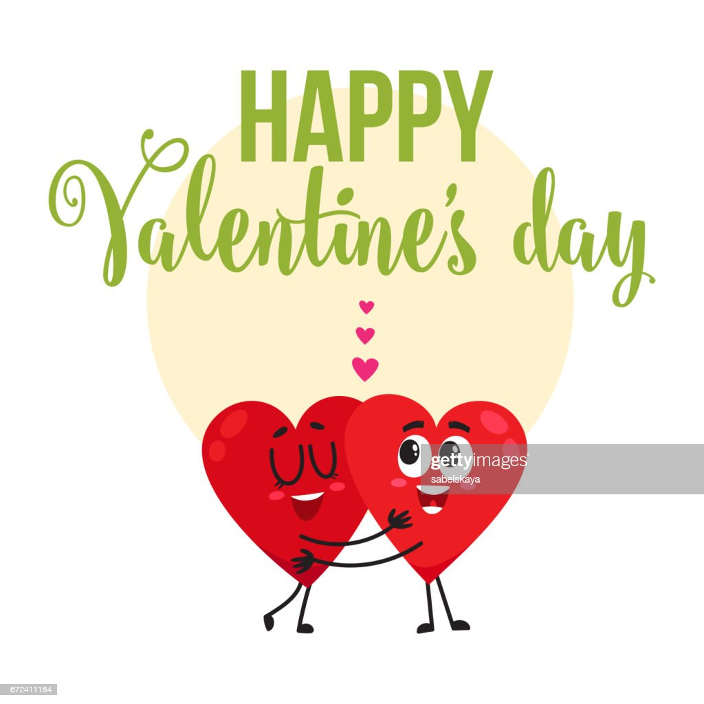 Valentine Day Greeting Card Design With Two Hugging Heart Characters