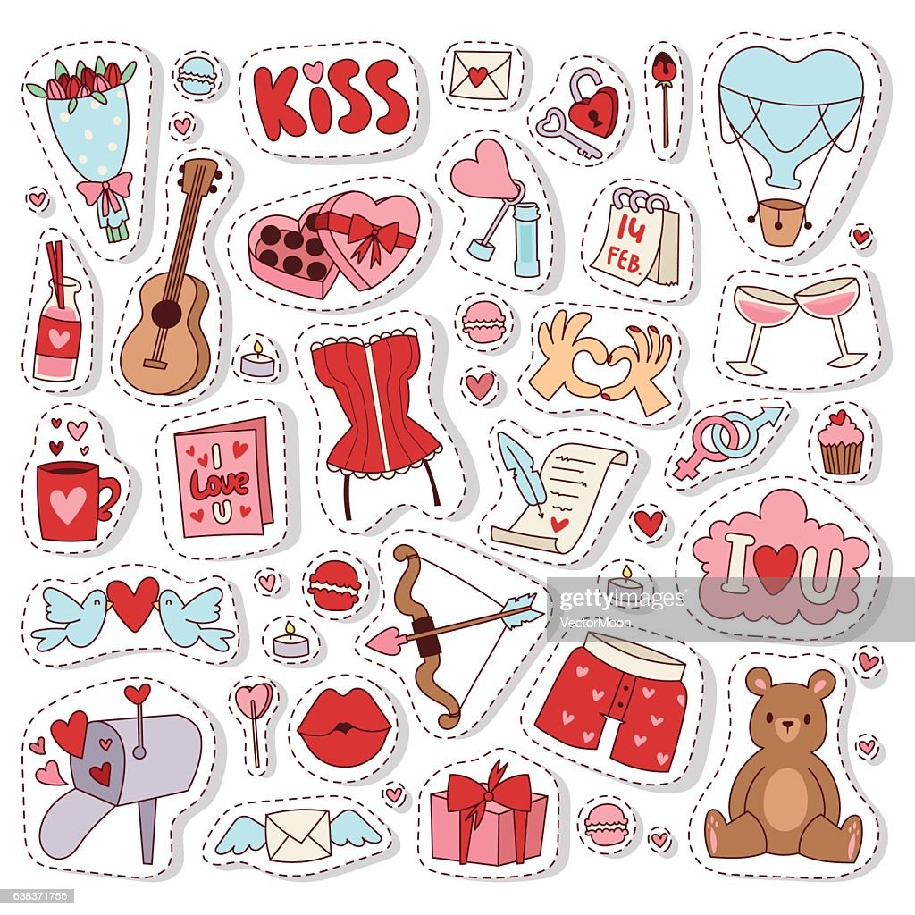 Valentine Day icons vector illustration