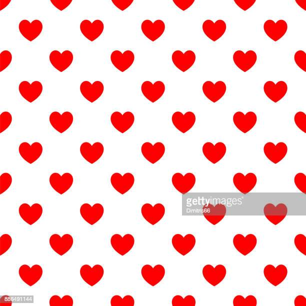Valentine Day polka dot seamless - Red hearts on white background