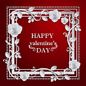 valentine day, red background with Rose , Paper art and craft style.