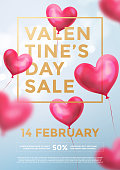 Valentine day sale web banner of red heart balloons in light shine on blue background. Vector Valentines day sale golden text for holiday shop discount promo design template of heart air ballons