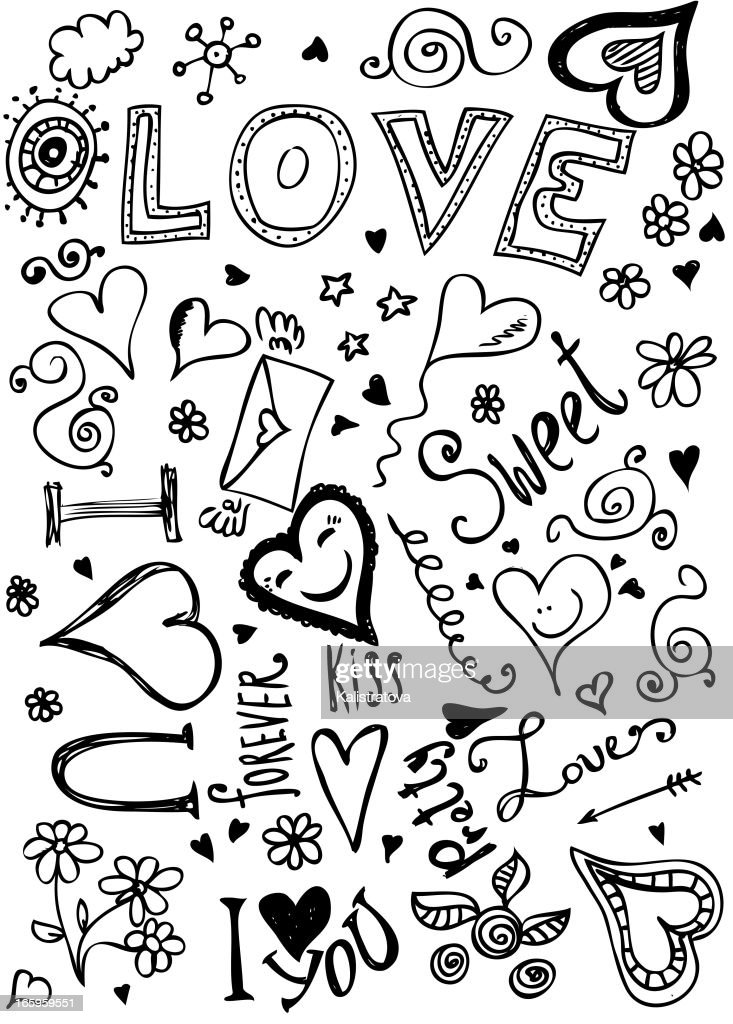 Valentine doodles of hearts and flowers and loving words