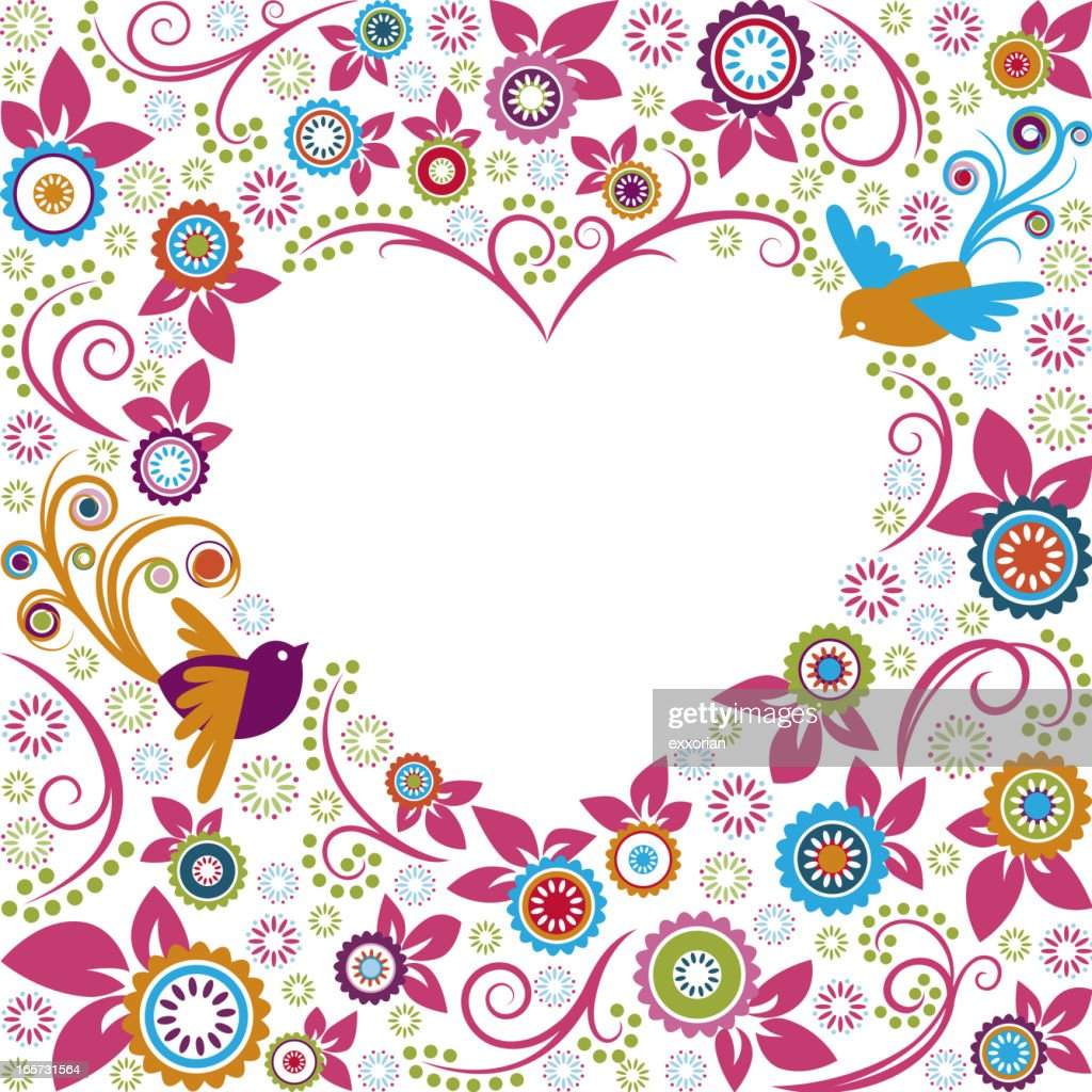 Valentine Flowers With Birds Heart Shape Frame Vector Art | Getty Images