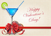 Valentine heart and blue cocktail