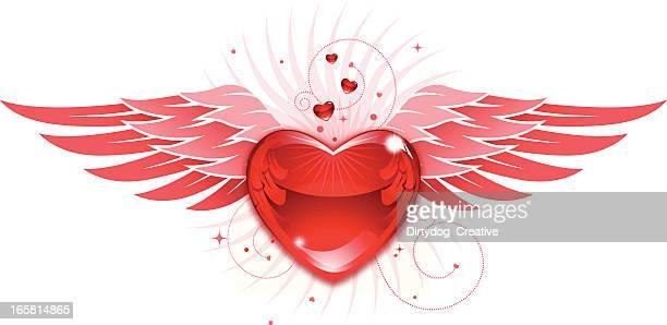 ilustraciones, imágenes clip art, dibujos animados e iconos de stock de valentine corazón y alas - alas de angel