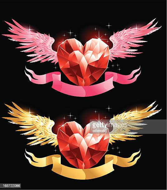 valentine heart - phoenix mythical bird stock illustrations, clip art, cartoons, & icons