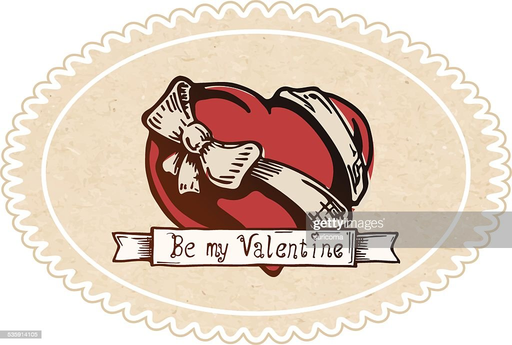 Corazón de San Valentín con un arco de nudo : Arte vectorial