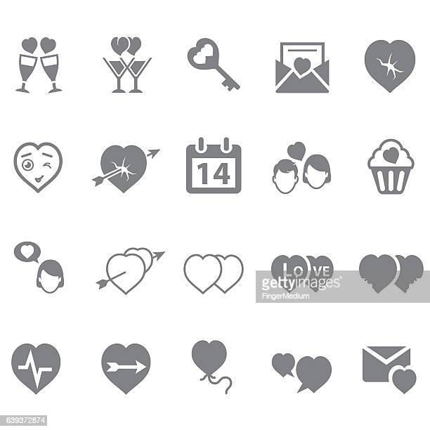 valentine icon set - love letter stock illustrations, clip art, cartoons, & icons
