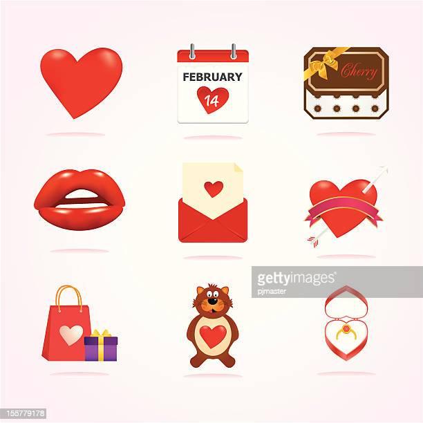 valentine icons - february stock illustrations, clip art, cartoons, & icons