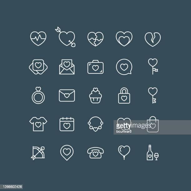 valentine line icons editable stroke - valentine' day stock illustrations