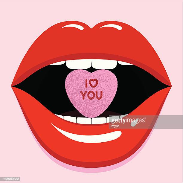 valentine love sexy lips cool pop candy mouth illustration vector