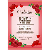 valentine party poster template with red rose