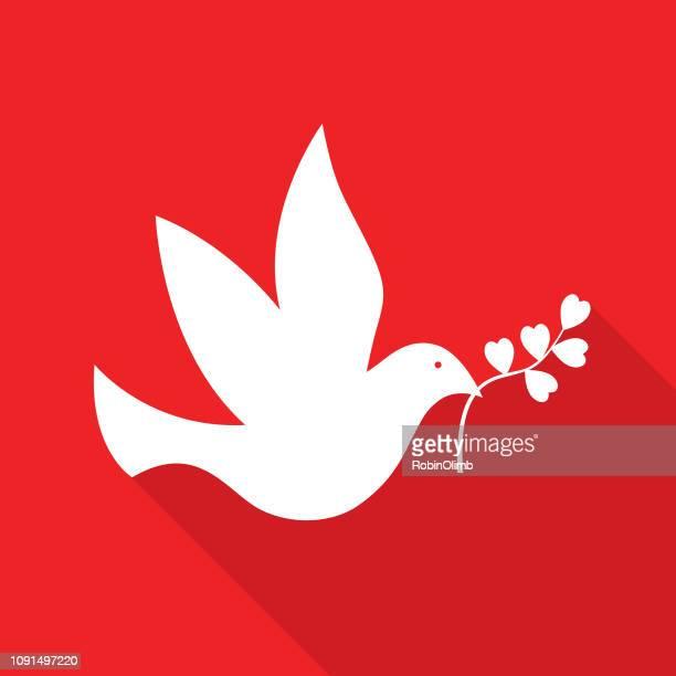 バレンタインの平和の鳩 - 小さめのハト点のイラスト素材/クリップアート素材/マンガ素材/アイコン素材