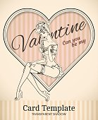 Valentine pin-up woman card template