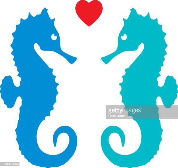 ilustrações de stock, clip art, desenhos animados e ícones de valentine sea horses - cavalo marinho