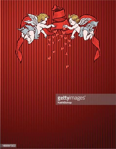 San Valentín con querubín Cupids y de fondo