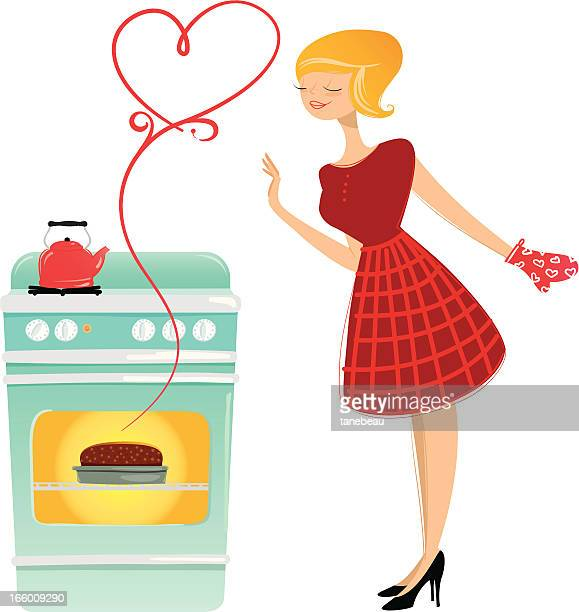 valentines baking - making a cake stock illustrations, clip art, cartoons, & icons