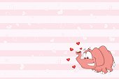 Valentines card with Cute Elephant illustration