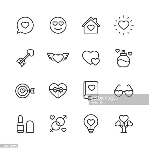 illustrations, cliparts, dessins animés et icônes de saint-valentin et icônes de l'amour. accident vasculaire cérébral modifiable. pixel parfait. pour mobile et web. contient des icônes telles que heart, love, parfum, rouge à lèvres, cadeau, famille. - rendez vous amoureux