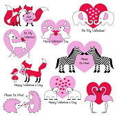 valentines day animals with hearts